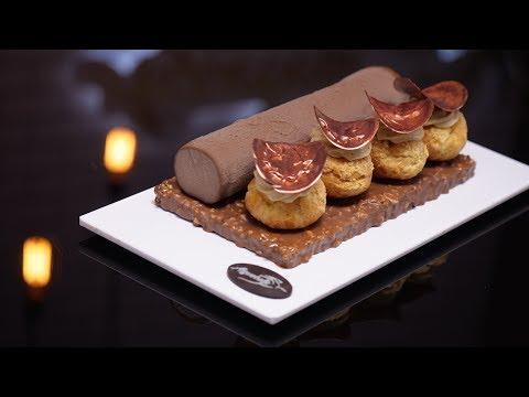 bûche-saint-honoré:-entremets-chocolat-et-praliné-de-aiguebelle