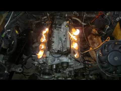 Audi V8 4.2 warming up the engine block before mounting heads