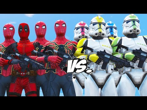 DEADPOOL AND SPIDERMAN INFINITY WAR ARMY VS STORMTROOPER ARMY - EPIC BATTLE SUPERHEROES COMIC