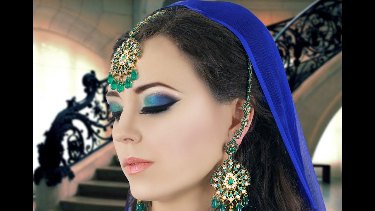 green and blue smokey eye makeup tutorial - asian / indian bridal
