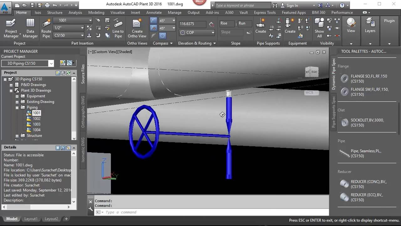 How to use Sockolet for vent and drain  (AutoCAD Plant 3D)