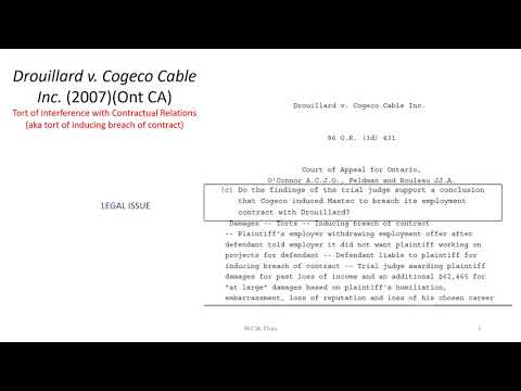 Tort of Interference with Contractual Relations:   Drouillard v  Cogeco Cable Inc, Mp3