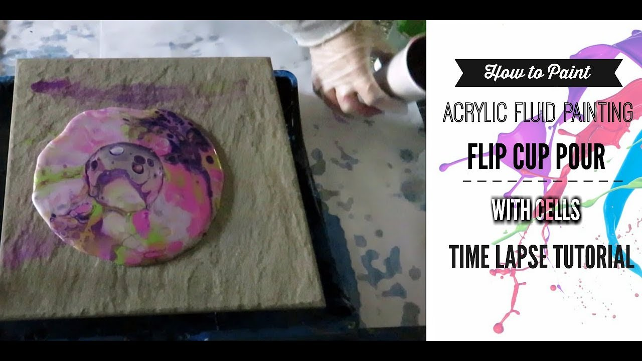 Acrylic Fluid Painting a easy guide to painting a Fluid Pour Painting with  cells on a floor tile