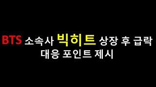 방탄소년단 BTS 소속사 빅히트 엔터테인먼트 상장 후 2거래일 연속 급락 대응방법은?