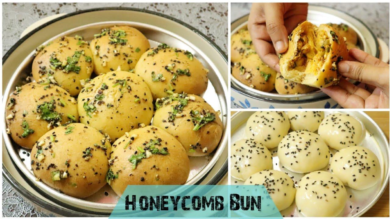 Freshly Baked Honeycomb Buns without Oven /  Khaliat Al Nahal / Buns Recipe / Tea Bun / Coffee Buns