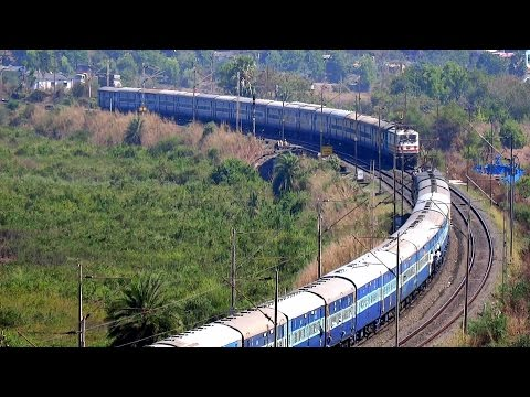 TRAIN CROSSING AT BEAUTIFUL SPOT ! INDIAN TRAIN FROM HILL