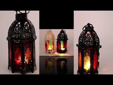 Metal Moroccan Lantern with Colorful Glass