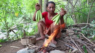Food my village: Baby corn to grill for food - Cook baby corn eating delicious #01