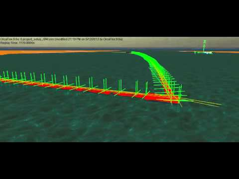 Multi-body motion response of a walkway in waves  modelled using Orcaflex