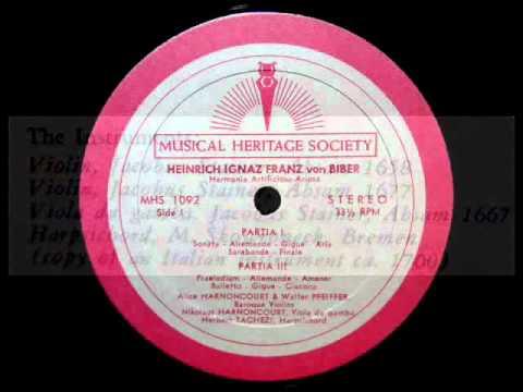 Von Biber / Alice Harnoncourt, 1964: Harmonia Artificiosa-Ariosa (1696) - Partita I