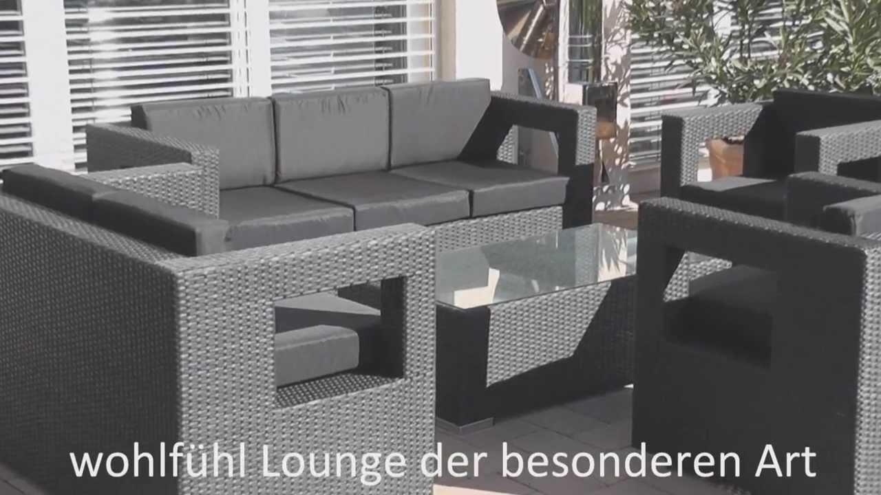 Rattan Lounge Gartenmöbel Polyrattan Designer - YouTube