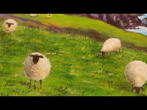 Sheep Acrylic Painting Emerald Isles Series Tutorial LIVE Step by Step Lesson