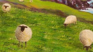 Easy Sheep Acrylic Painting Emerald Isles Series Tutorial LIVE Step by Step Lesson