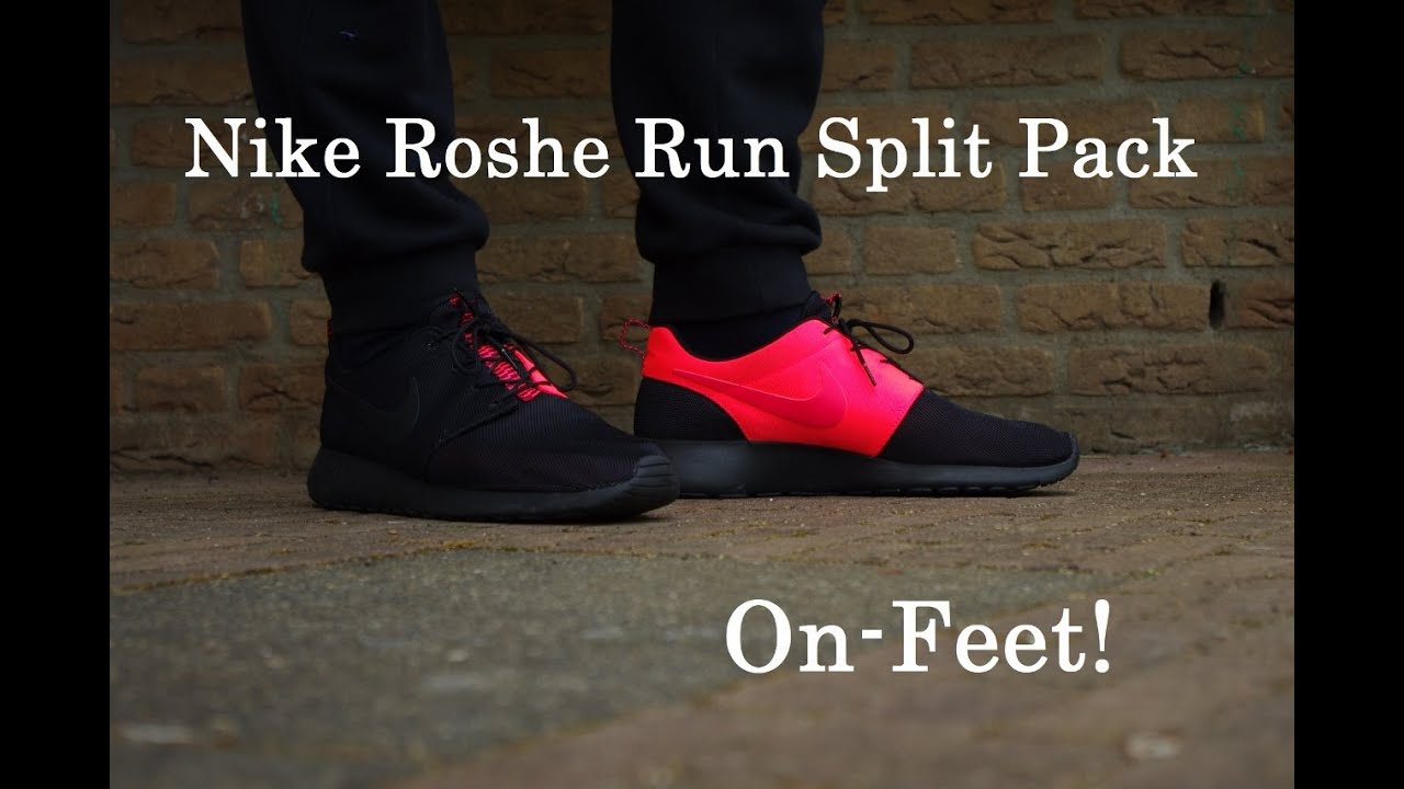 99f7498d19d53 Nike Roshe Run  Split Pack  Atomic-Red Black ON-FEET! - YouTube