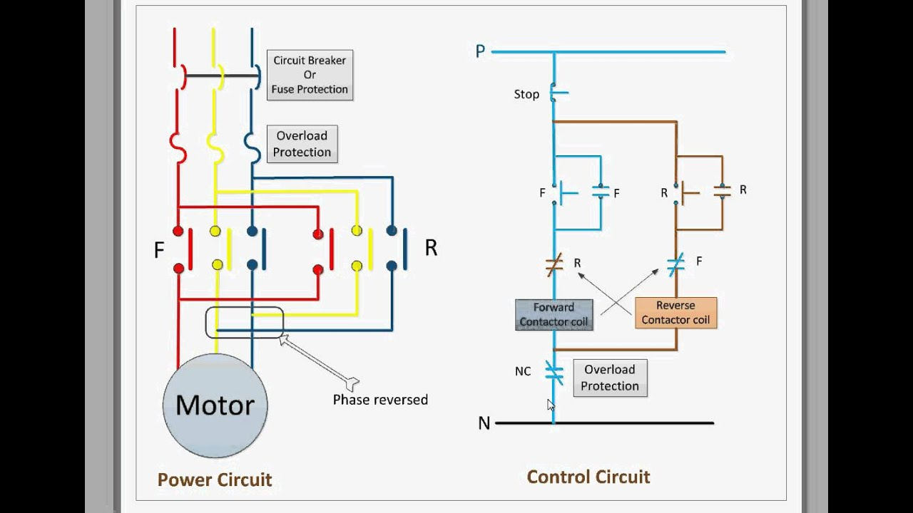 single phase electric motor starter wiring diagram les paul diagrams control circuit for forward and reverse - youtube