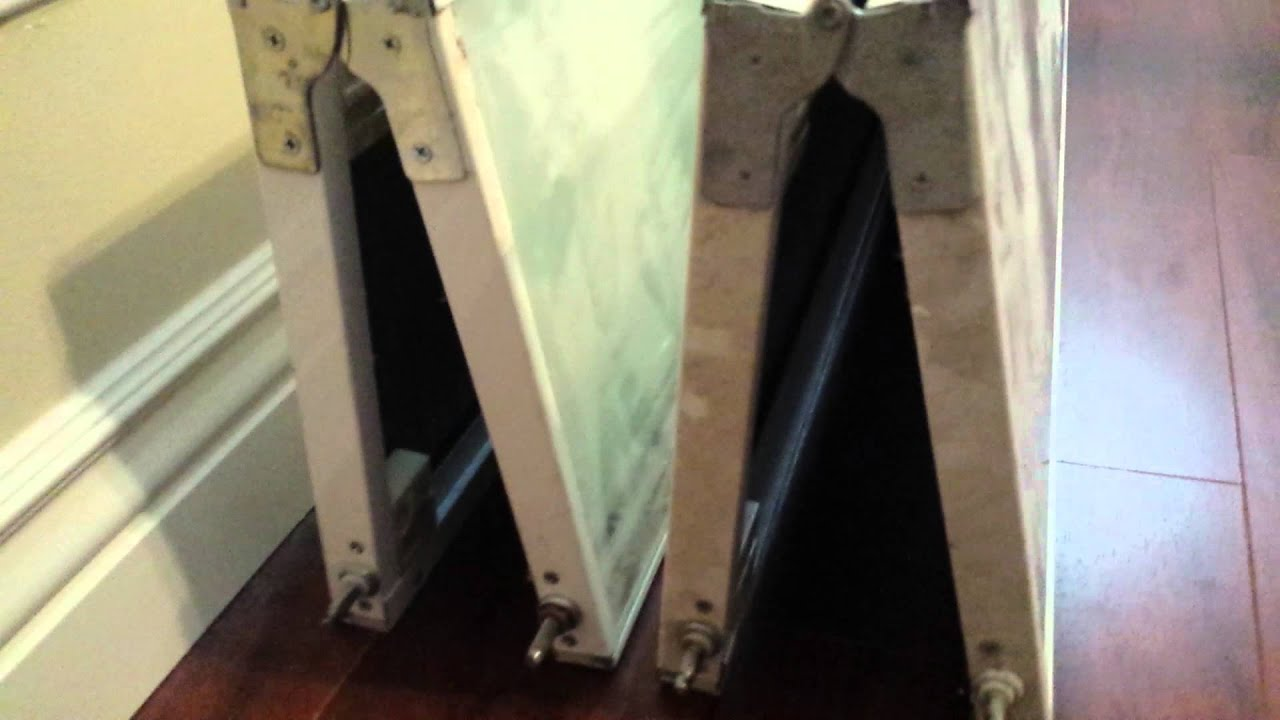 Bifold mirror closet door bottom track missing - YouTube