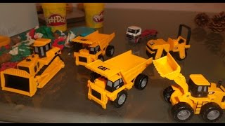 toy truck cat excavator bulldozer play doh roller