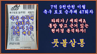 7억 9천 이월 승무패 47회차/풋볼살롱 승무패 47회…