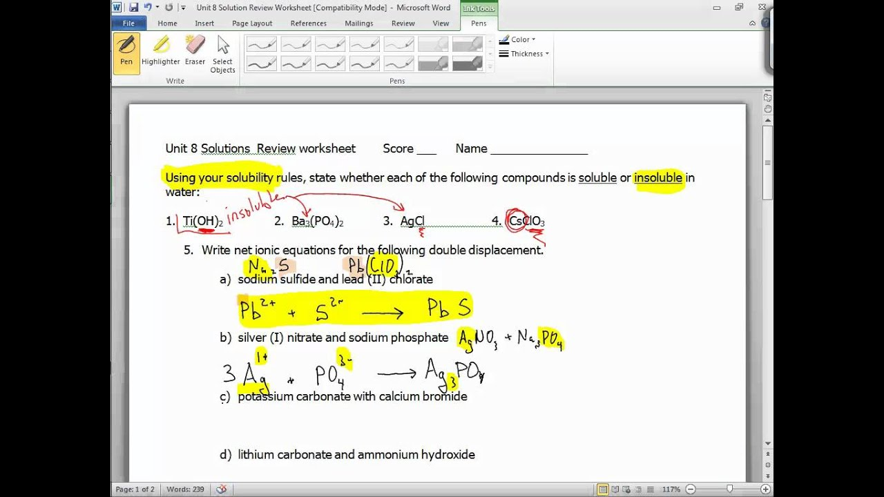 Unit 8 solutions Review worksheet part 1   YouTube