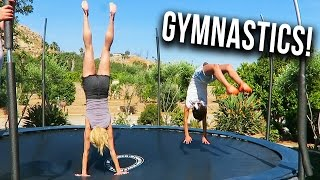TRYING GYMNASTICS ON A TRAMPOLINE! (Day 123)