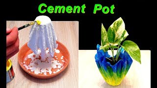 How to make Flowerpot with Cement using old Clothes or Towels / DIY