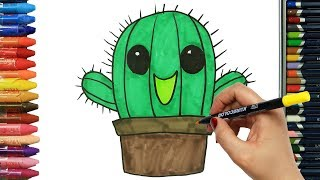 How to draw Cactus | Colors | Drawing and Painting | How to color | Coloring for children
