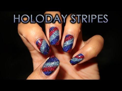 Holo Taco Holoday Stripes | DIY Nail Art Tutorial thumbnail