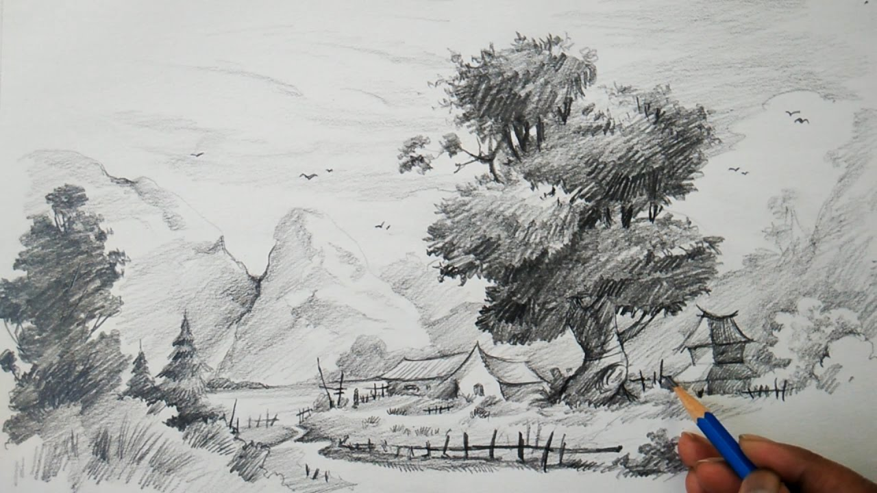 Learn Landscape With Easy Strokes With Pencil   Pencil Art ...