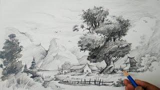 pencil landscape drawings easy learn sketch strokes drawing watercolor