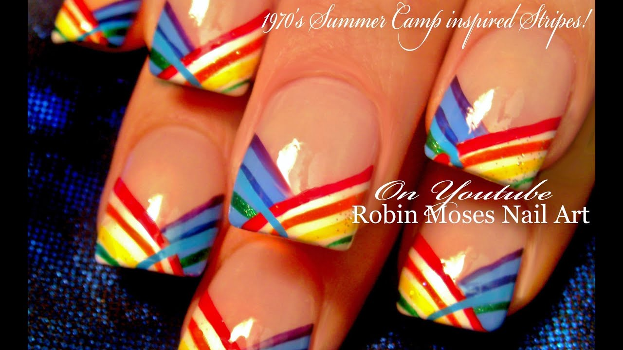 Diy 70s Summer Camp Striped Nail Art Design Tutorial Youtube