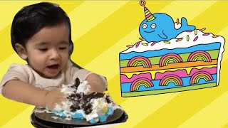Baby crushing cake | Kids funny video crushing cake on first birthday he likes the texture of cake.