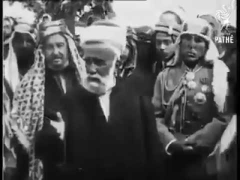 الشريف الحسين بن علي يودع زعماء وشيوخ القبائل العربية قبل نفيه إلى قبرص