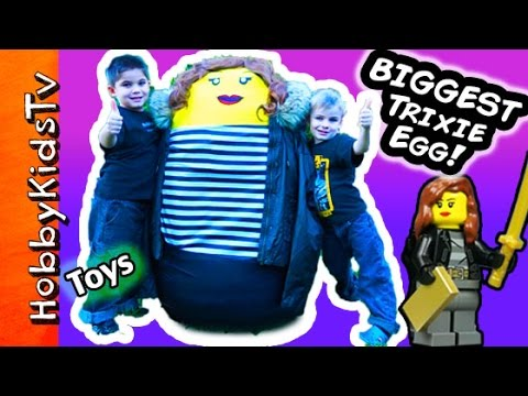 Worlds BIGGEST Trixie Surprise LEGO Egg! Nerf TOYS + Police Arrest by HobbyKidsTV