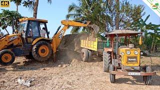 HMT Tractor vs JCB 3DX Machine | Tractor Trailer loaded by JCB
