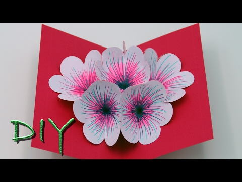 How to make a simple Pop Up Card for Mother`s Day and Valentine`s Day - DIY - Tutorial
