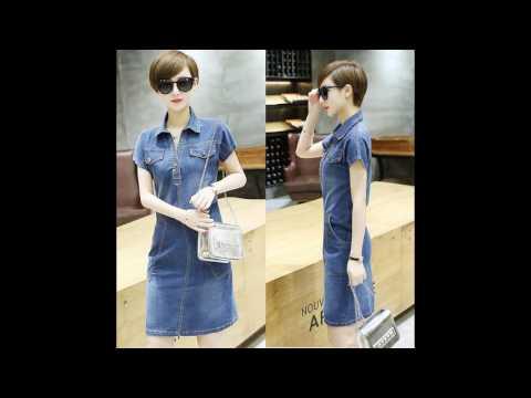 4T - Đầm Jean Suông Cổ Sơ Mi Phối Túi Mã B2515