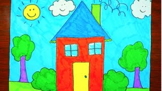 How To Draw A House | Kids Coloring Video