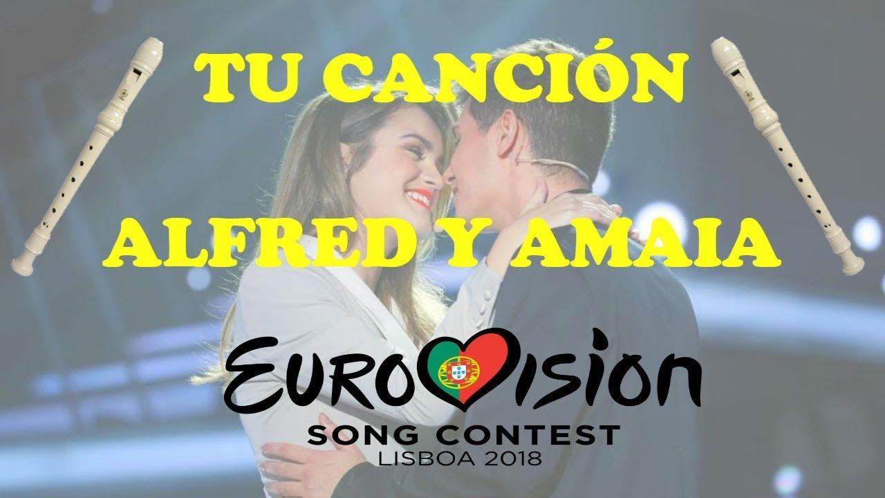 tu-cancion-alfred-y-amaia-eurovision-espana-flauta-dulce-notas-themauel7