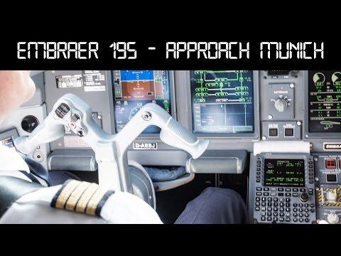 Embraer 195 Lufthansa CityLine   cockpit landing Munich Airport