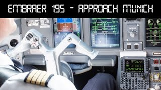 Embraer 195 Lufthansa CityLine | cockpit landing Munich Airport