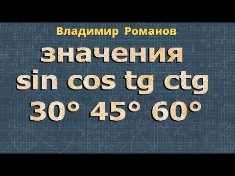 Значения синуса, косинуса и тангенса углов 30°, 45° и 60° ➽ Геометрия 8 класс