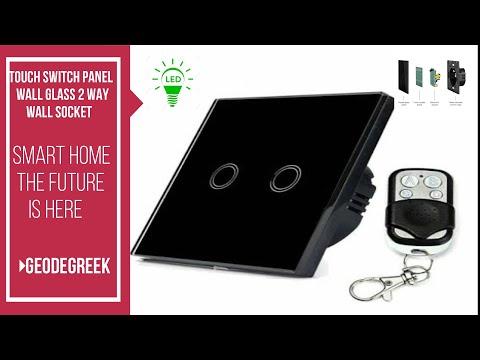 Touch switch panel light wall glass 2 Way EU #68# UNBOX- INSTALL