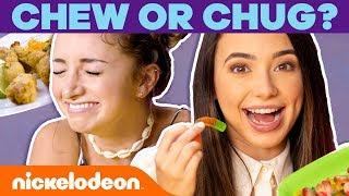 The CHEW OR CHUG Challenge! 🤢 VidCon 2019 | Nick