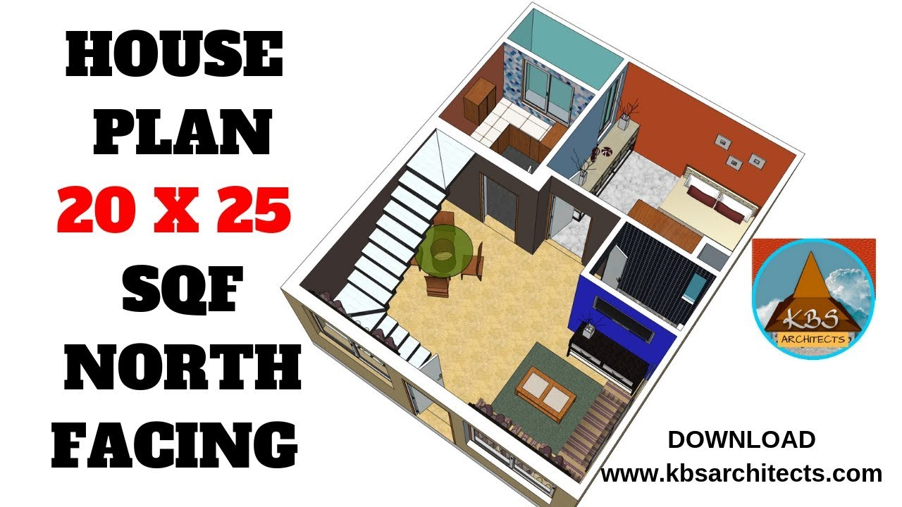 Small House Design 20 x 25 feet   North facing 3d view on 10 x 20 house, 12 x 20 house, 15 x 20 house, 20 x 20 house, 8 x 20 house, 16 x 20 house,
