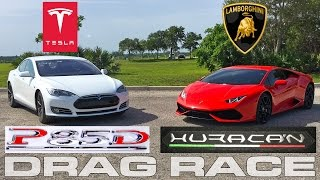Tesla Model S P85D Ludicrous vs Lamborghini Huracan LP610-4 Drag Race