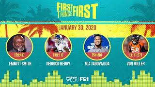 Emmitt Smith, Derrick Henry, Tua Tagovailoa, Von Miller(01.30.20) | FIRST THINGS FIRST Audio Podcast