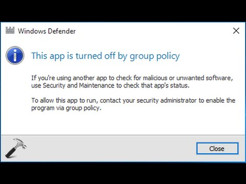 How to TURN ON/ ENABLE windows defender by group policy FIXED SOLVED