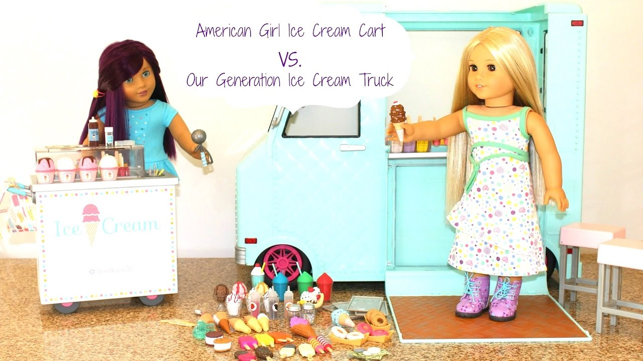 American Girl Doll Ice Cream Cart vs. Our Generation Doll Ice Cream ...