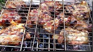 Курица гриль, гриль рецепт курицы в горчичном маринаде, курица на костре