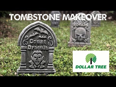 Dollar Store Tombstone Makeover - Cheap Easy DIY Graveyard Tutorial